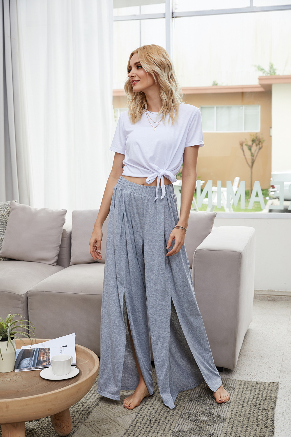 summer new elastic high waist split mopping pants wide leg pants trousers  NSDF1522