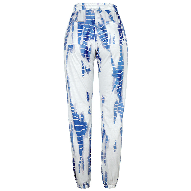 autumn new printed lace-up casual versatile trousers  NSKX5949