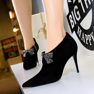 Han edition 78128-1 the stiletto heel high-heeled suede tip diamond show thin and sexy deep bow mouth single shoes