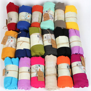 New women's linen cotton scarf candy color solid color scarf imitation cashmere scarf autumn silk scarf custom TR cotton