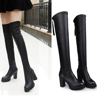 2020 winter long stretch leather over the knee high heel boots stovepipe boots European and American fashion women's high boots women's boots on behalf of