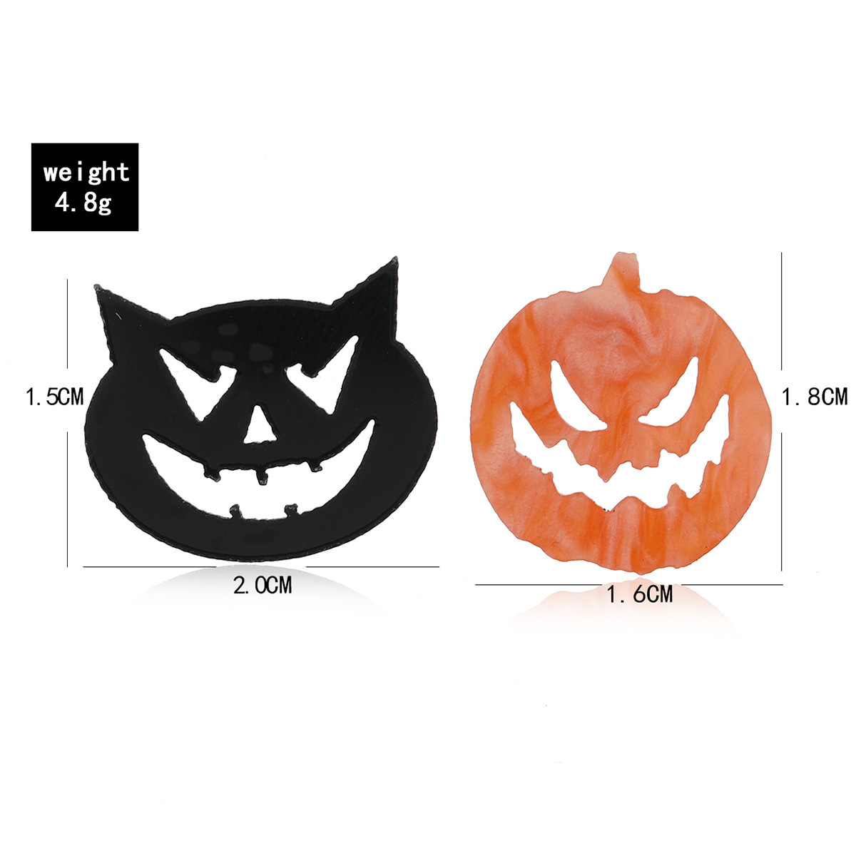 Halloween fun small ear needle acrylic twocolor pumpkin little devil earrings NHPV263671