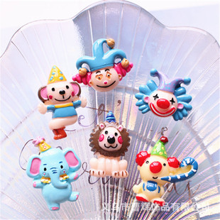 Cute circus clown cartoon animal jewelry handmade materials DIY resin accessories Epoxy mobile phone case beauty