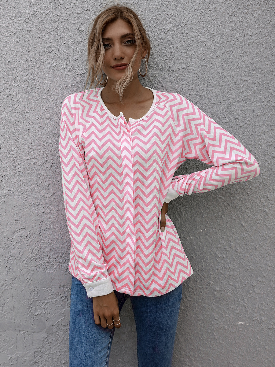 women's autumn and winter new striped long-sleeved jacket tops NSAL2083
