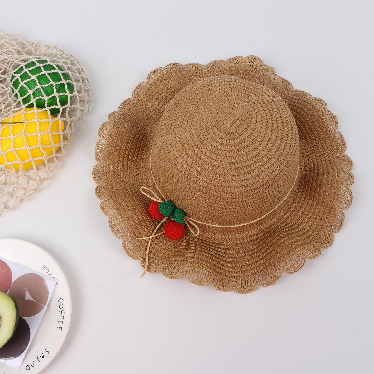 Cherry lace wave straw hat bag set children39s sun hat summer new outdoor sun hat NHTQ208117