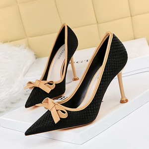 278-17 han edition with shallow mouth sweet stiletto heel show tall pointed knitting color matching bow single shoes