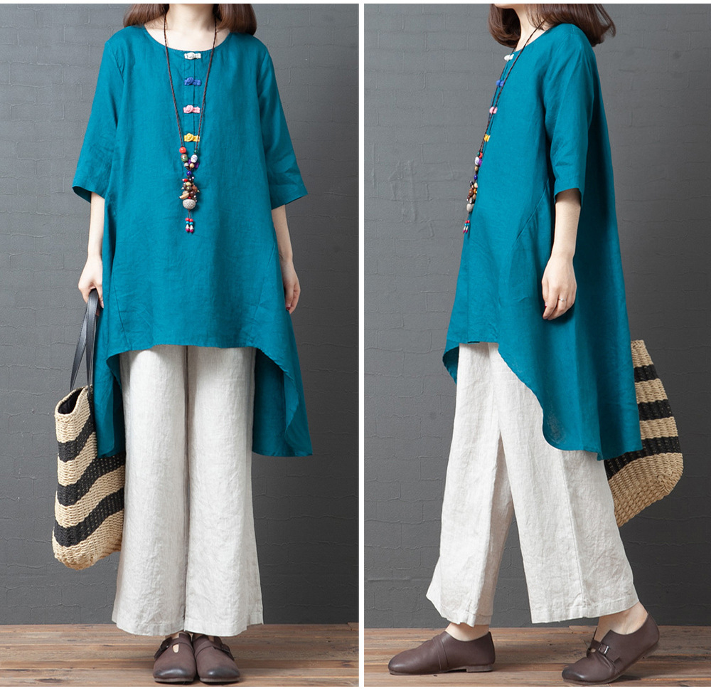 casual round neck mid-length shirt skirt top NSYF2826