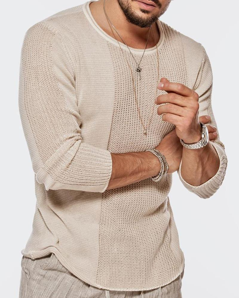 2020 cross border eBay Amazon sweater men's autumn winter round neck hollow out Knitted Top Casual sweater qf01