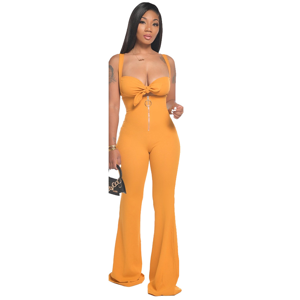 sexy zipper chest wrapped two-piece set NSCN64990