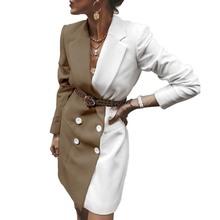 欧美女装气质百搭跨境外贸双排扣时尚中款撞色洋装外套小西装批发