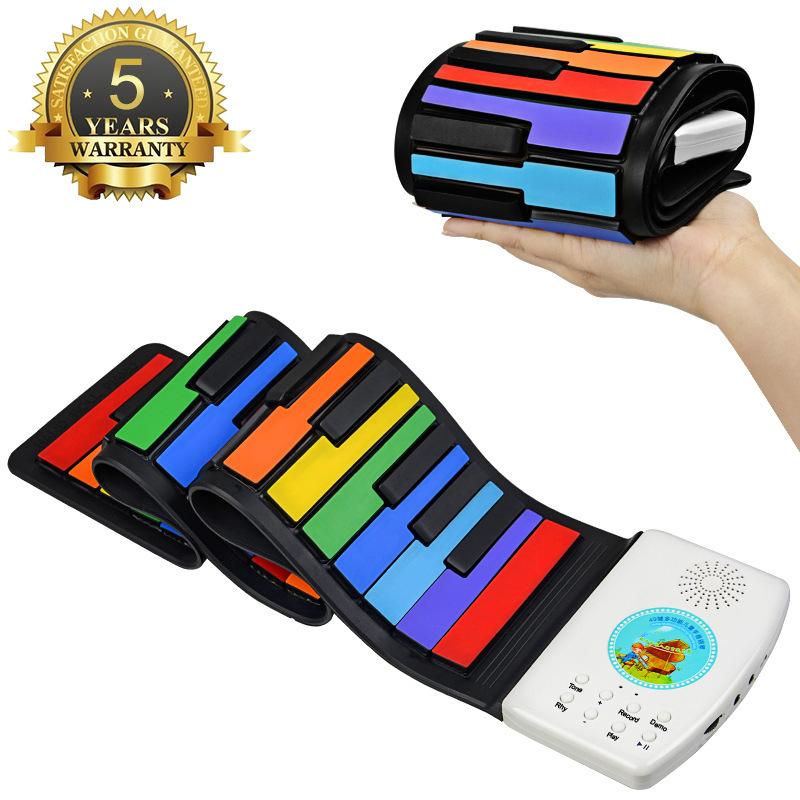 49键手卷钢琴 加厚彩虹硅胶初学入门儿童便携折叠电子琴乐器批发