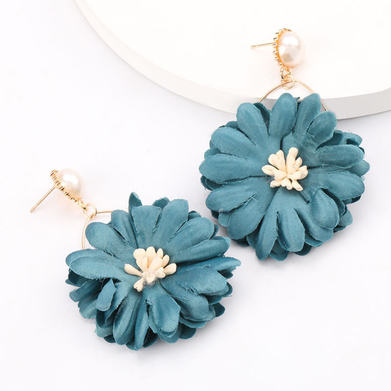 fashion exaggerated big-name fabric flower chrysanthemum earrings retro temperament earrings wholesale nihaojewelry NHJE218083