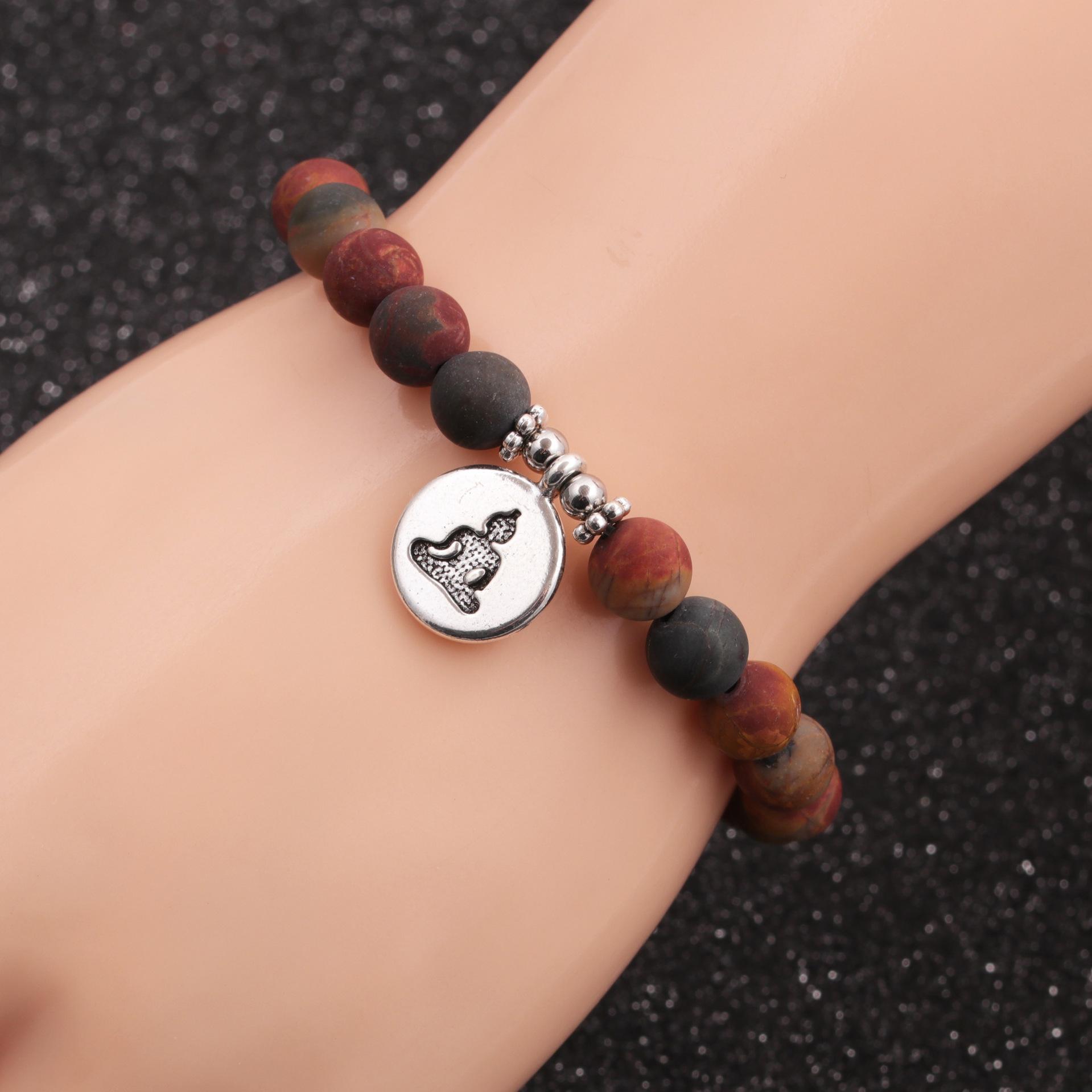 HotSelling fashion new 8mm Pine Lime Agate Buddha Head Bracelet for women NHYL259213