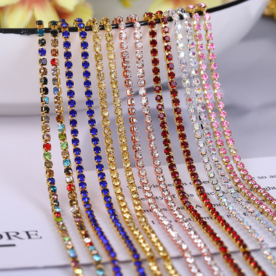 10 Yards Crystal & Mix Colors Rhinestones Close Cup Chain Gold base color diamond chain dense water drill claw chain