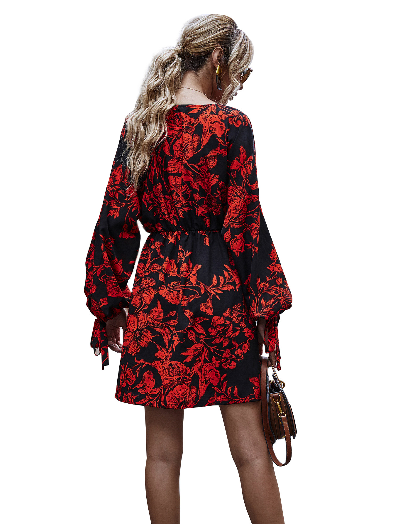 hot sale autumn and winter casual V-neck black bottom red print a-line skirt wholesale NHDF20
