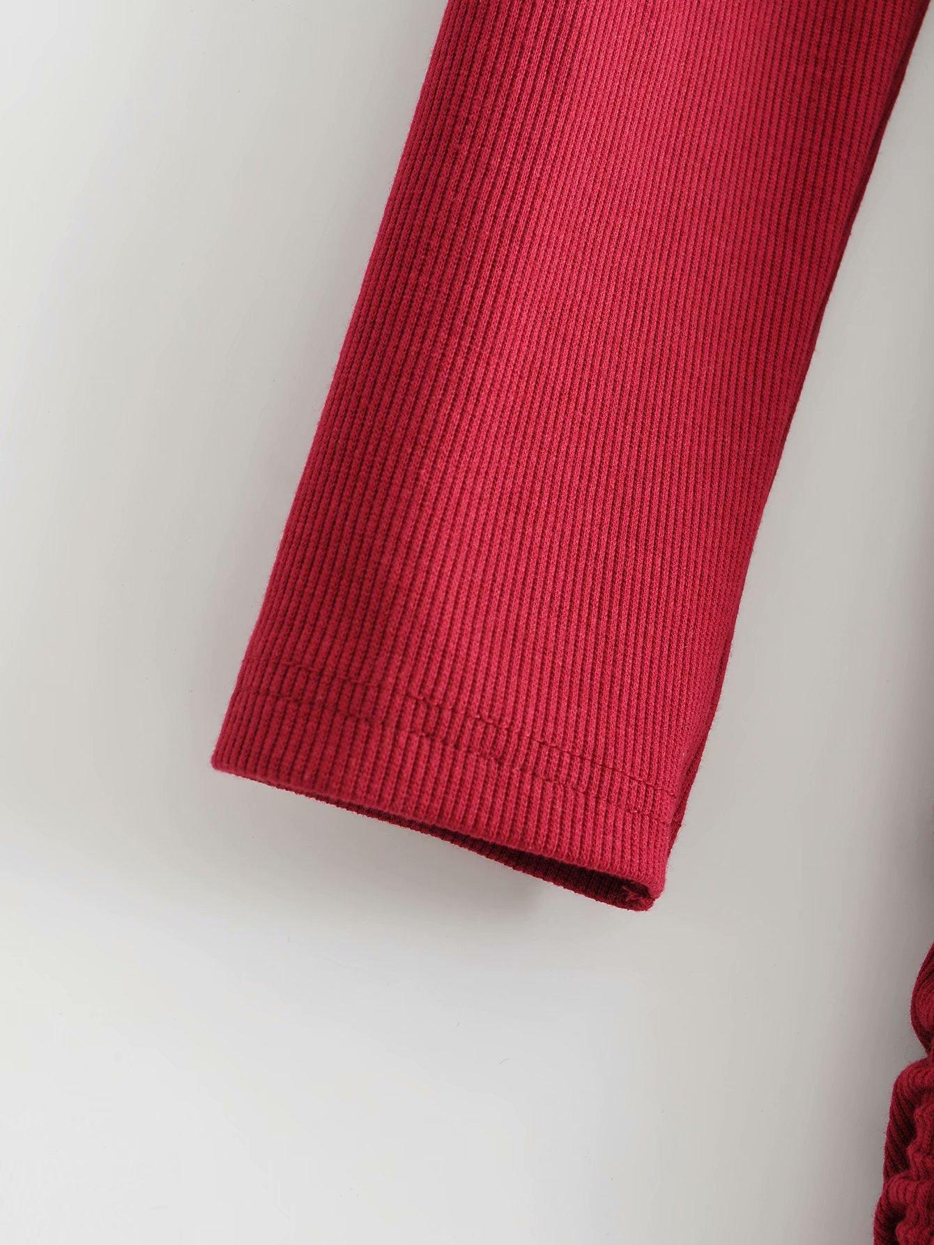 Drawstring Knit Long Sleeve Dress NHAM284353