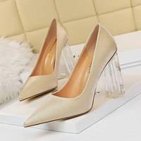 9217-2 Korean sexy nightclub slim high heels transparent heels thick heels high heels Satin shallow pointed women's single shoes