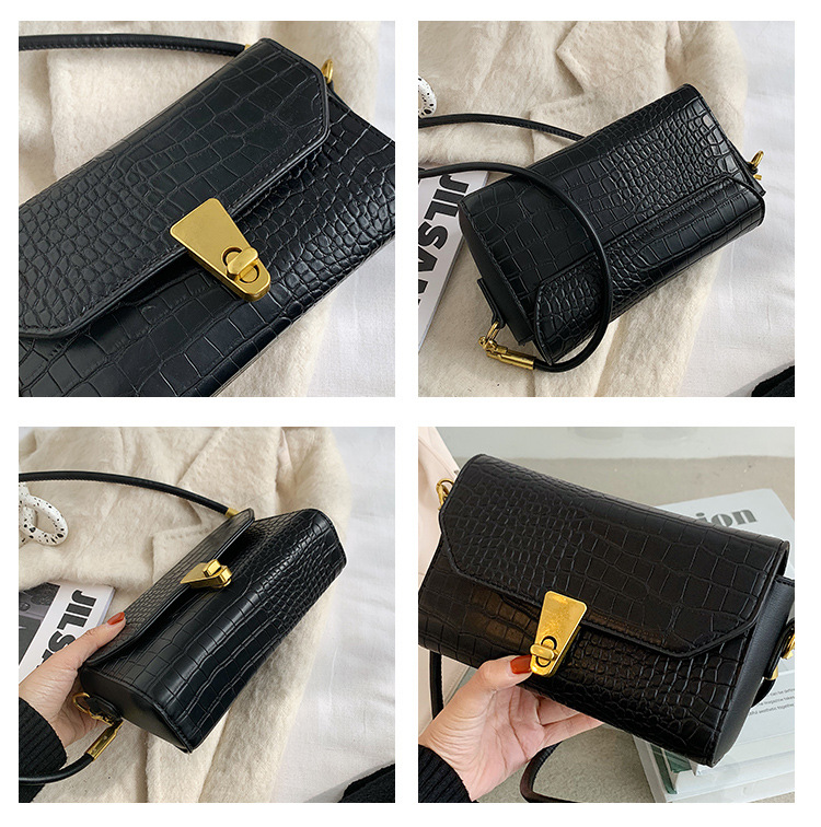 Fashion women autumn crocodile pattern high-quality small square shoulder handbag NHJZ271802