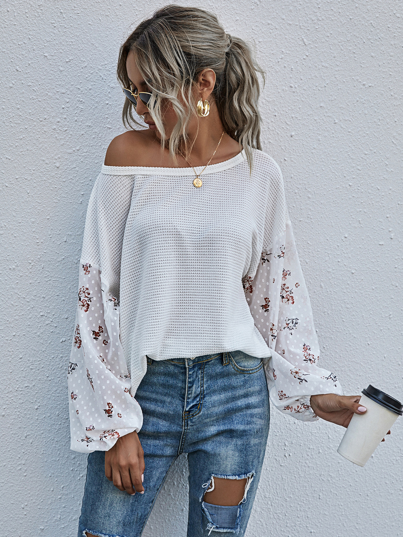 autumn and winter new hot sale round neck stitching lantern sleeve printing loose top NSYD3741