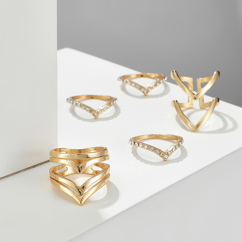 Fashion new golden ring 5-piece set simple style fashion retro geometric ring set NHGY199756