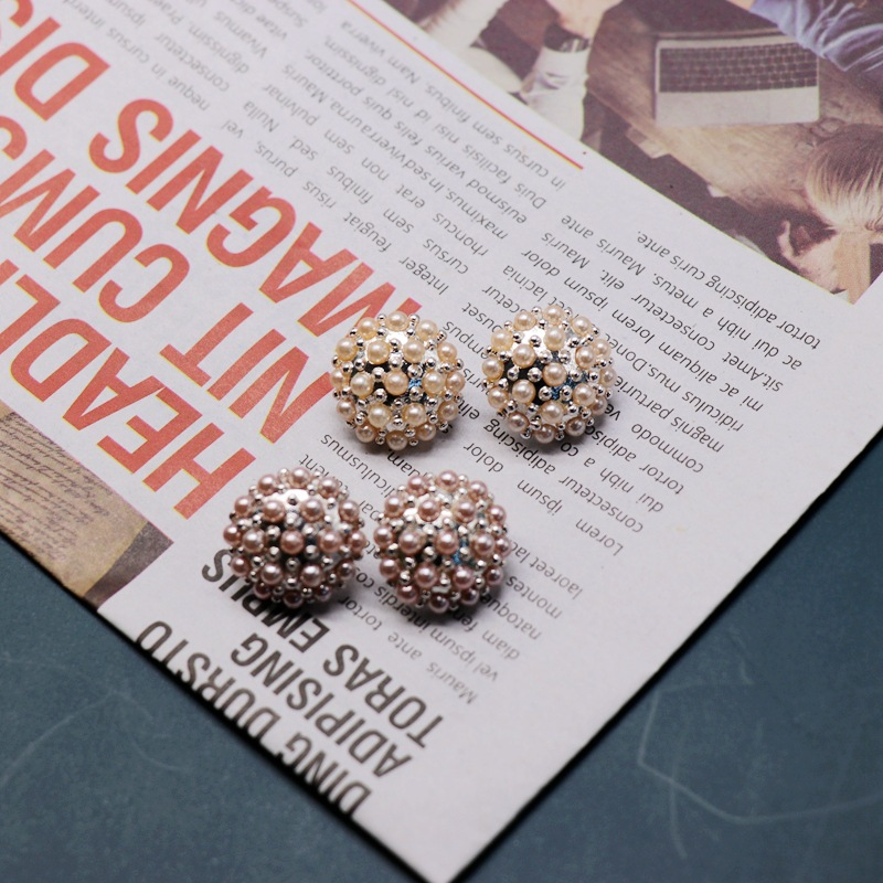 Fashion Dense Bead Earrings Orange Pink Round Dense Pearl Ear Studs NHOM199853