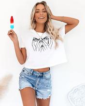 2020新款亚马逊 wish 独立站 eBay爆款露脐印花休闲短袖T恤上衣