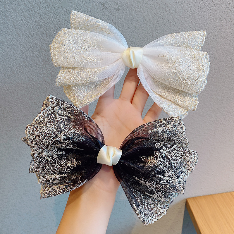 Korean big bow hairpin lace spring clip hairpin girls cute hair accessories clip fashion top chuck jewelry nihaojewelry NHNA238258
