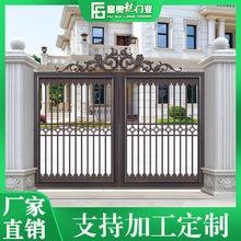 铝合金电动折叠悬浮门 小区别墅院子自动遥控大门自动无轨折门