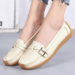 Middle-aged and elderly women's shoes, mother's shoes, soft-soled women's comfortable shoes, spring and autumn models of leather shoes, flat shoes