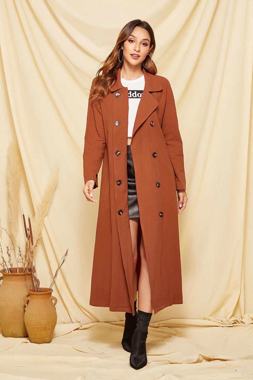 spring women's windbreaker women's double-breasted coat long outer suit  NSDF521