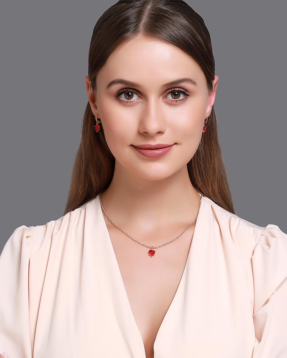 new suit jewelry classic crystal zircon love necklace earring ladies temperament wild jewelry wholesale nihaojewelry NHMO219000