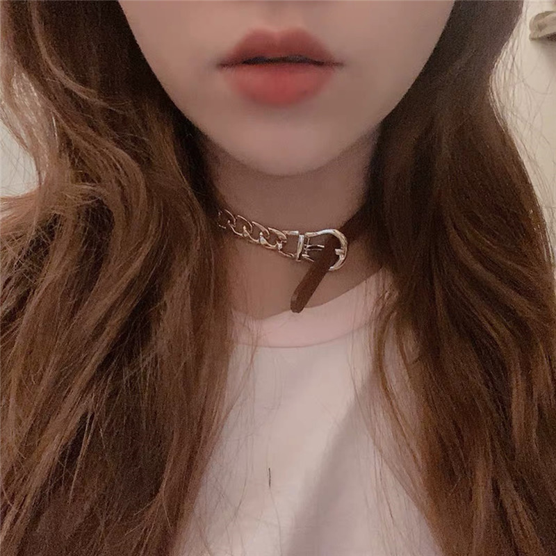 wide leather chain short necklace  NHYQ278816