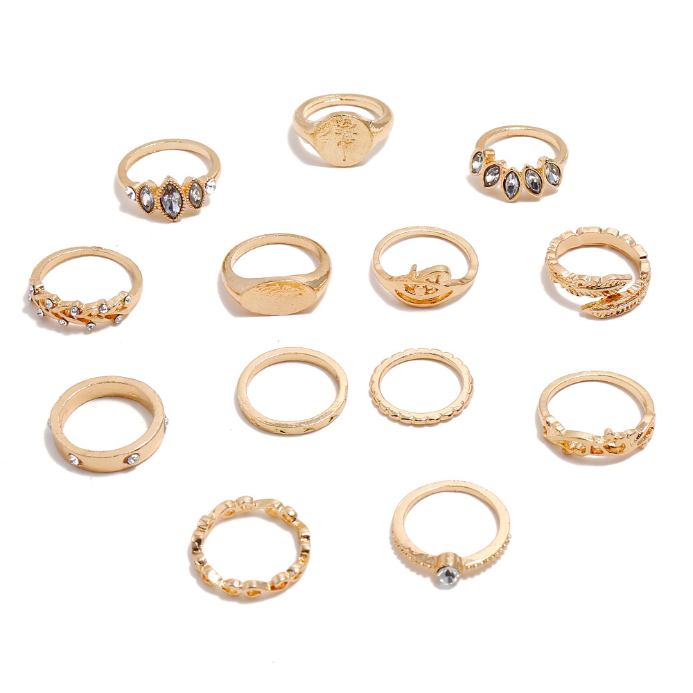 Ring retro jewelry bohemian hand jewelry 13 piece set joint ring wholesale NHKQ194169