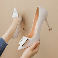 Han edition, 9333-017 fashion pointed mouth light suede side buckle fine with high heels and sexy web celebrity fairy wind for women's shoes