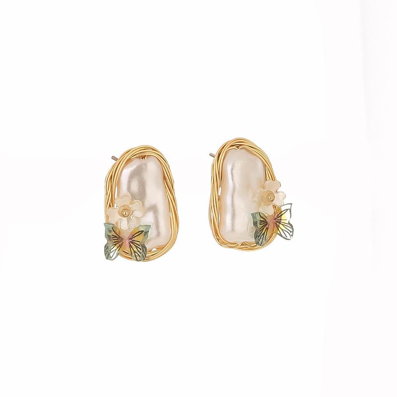 retro baroque pearl butterfly earrings NHAN339589