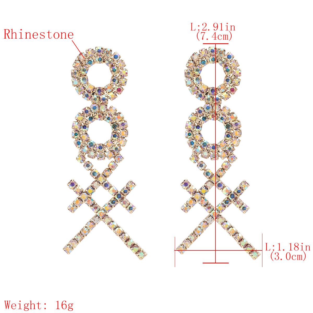 fashion exaggerated multi-layer round cross-shaped alloy diamond-set rhinestone full diamond earrings super flash wholesale nihaojewelry NHJE220035