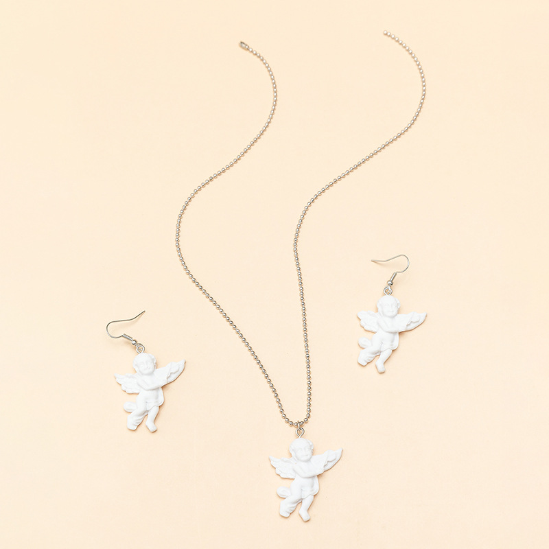 ornaments cool Cupid wings angel pendant retro couple necklace wholesale nihaojewelry NHNZ227768