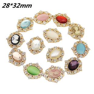 Color-preserving electroplating crystal beauty head handmade flower disc buckle diy hair ornament decoration wholesale jewelry accessories