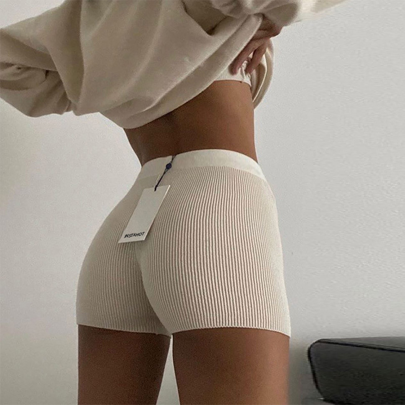 Solid Color Knitted Shorts For Women Street Fashion Small Flat Angle Straight Pants