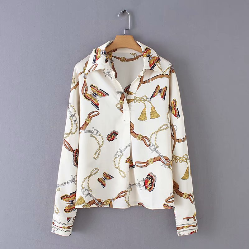 Wholesale Spring Chain Print Women's Chiffon Shirt Top NHAM201463