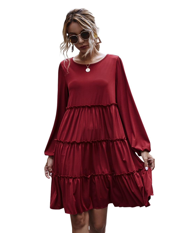 hot style round neck large swing skirt ruffled stitching long-sleeved knitted dress  NHDF62