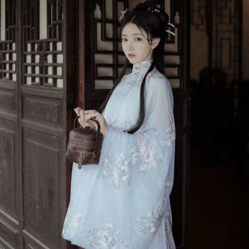 Ming Dynasty Hanfu adult Xianqi white embroidered double breasted standing collar long shirt waist elegant fairy skirt