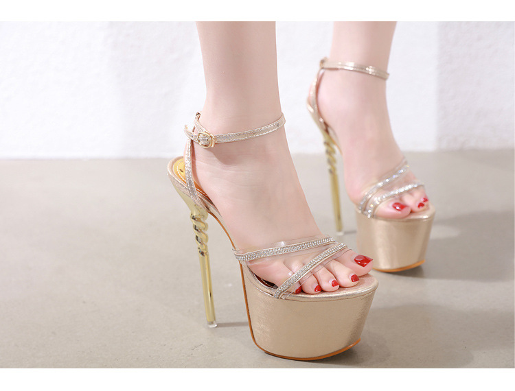 New women's shoes super high heel stiletto rhinestone transparent sandals NHSO203241