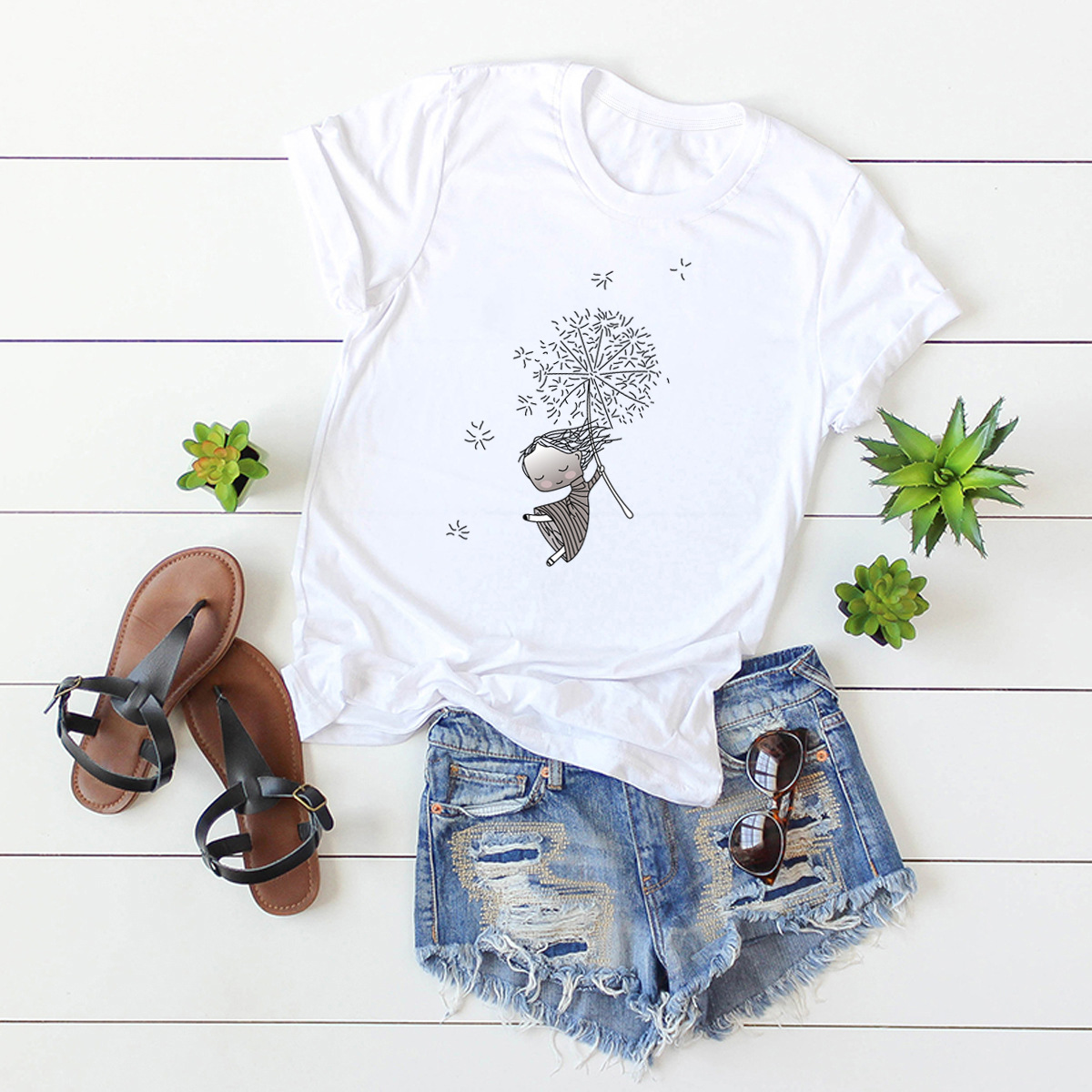 fun dandelion printed cotton short-sleeved t-shirt women NSSN2692