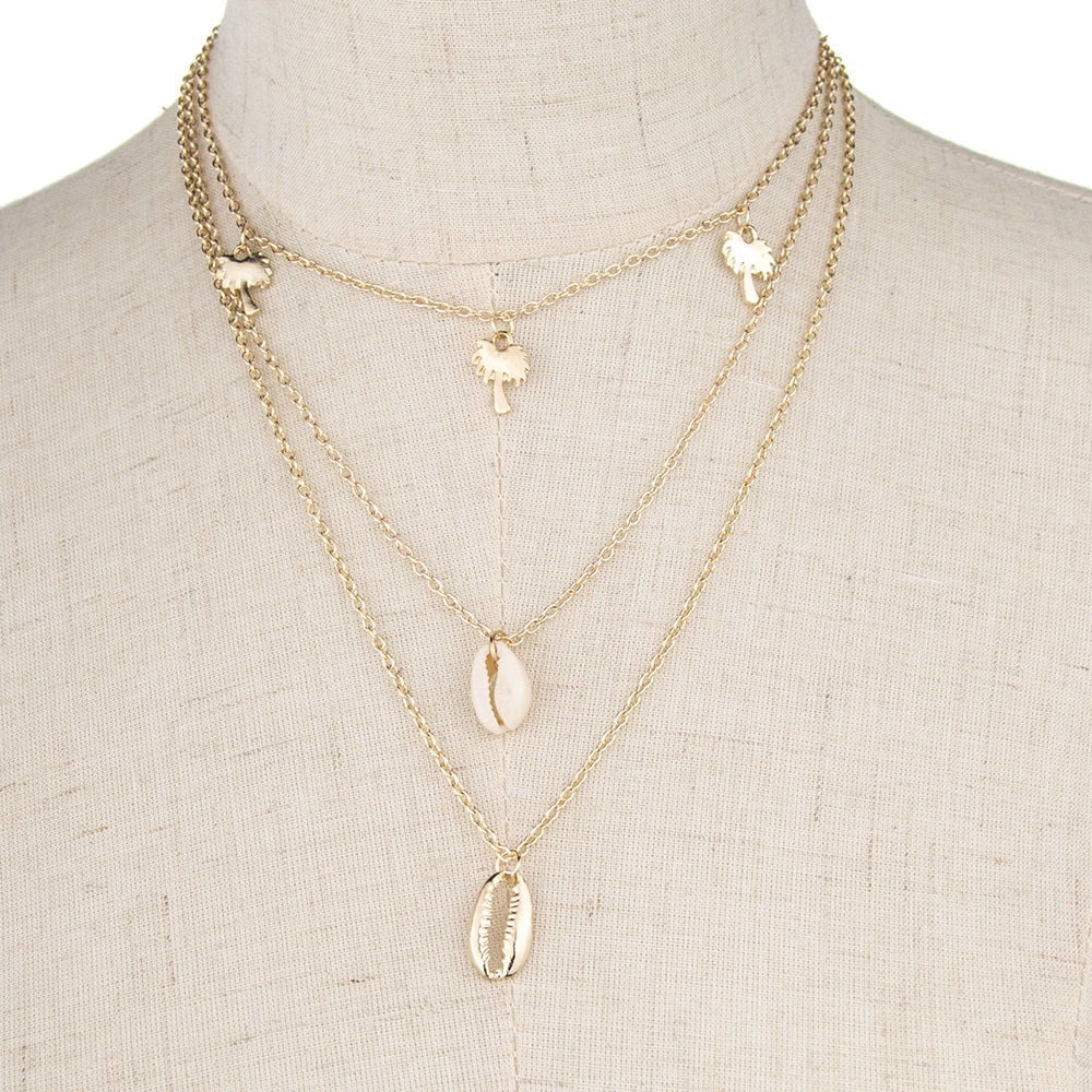 Bohemian Alloy Necklace Fashion Vacation Beach Series Multi-layer Shell Necklace NHMD204433