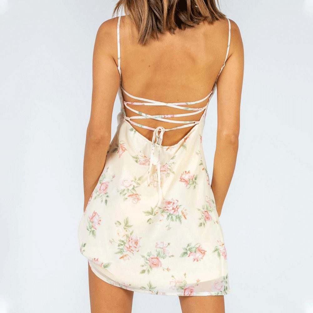 new sexy open back cross-lace A-line skirt NSAG7298