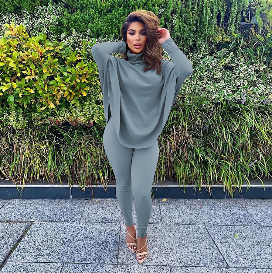 Winter Solid Bat Long Sleeve Two Piece Fashion Casual Suit