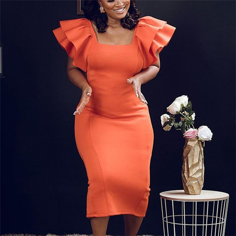 Autumn Fungus Side Sleeves High Waist Slimming Orange Party Banquet Large Size Elegant Dress Female Dress
