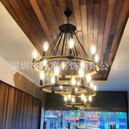 美式loft复古工业风酒吧餐厅铁艺个性创意厂家双层麻绳圆古堡吊灯