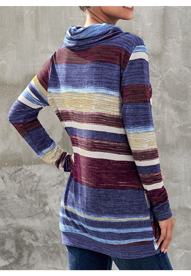 New autumn and winter women's mid-length pullover multicolor striped pocket long-sleeved ladies sweater NSSI2558